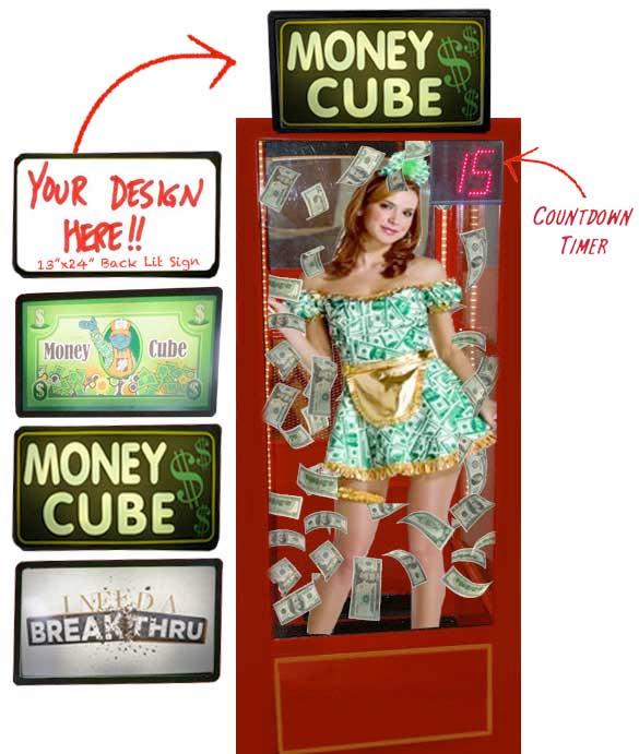 Money Cube Machine with Signs