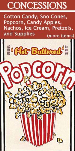 concessions, popcorn, cotton candy, snow cone, nachos, pretzels, funnel cake