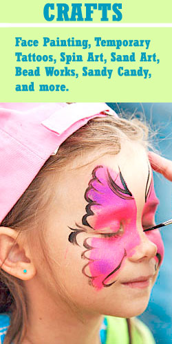 crafts, face painting, spin art, beads, sand art, tattoos