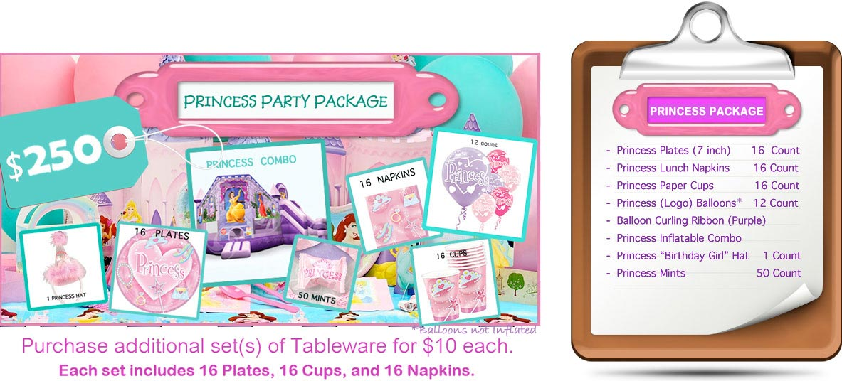 Princess Party Package (Inflatable, Plates, Cups, Napkins)