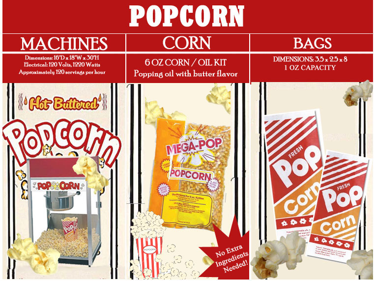 popcorn supplies, popcorn machine rentals