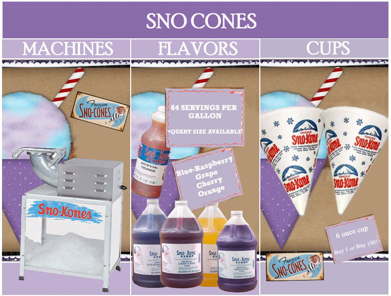 sno cone supplies, sno cone machine rentals