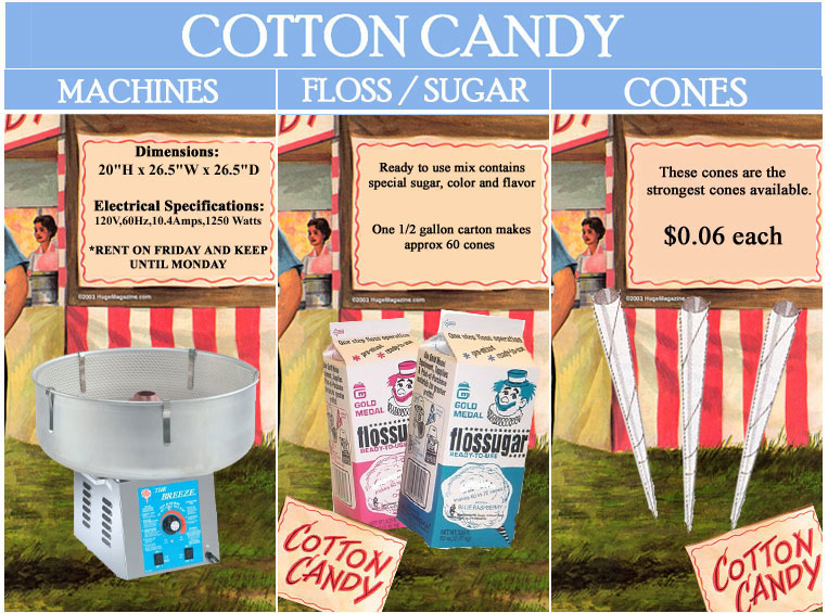 cotton candy supplies, cotton candy machine rentals