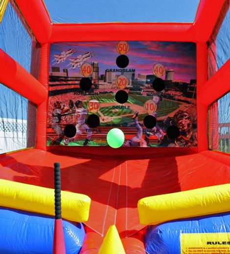 Batter Up Baseball Inflatable, Batting Cage Inside
