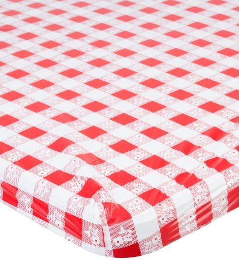 "29"" X 72"" – RED GINGHAM TABLE COVER DISPOSABLE FITTED PLASTIC"