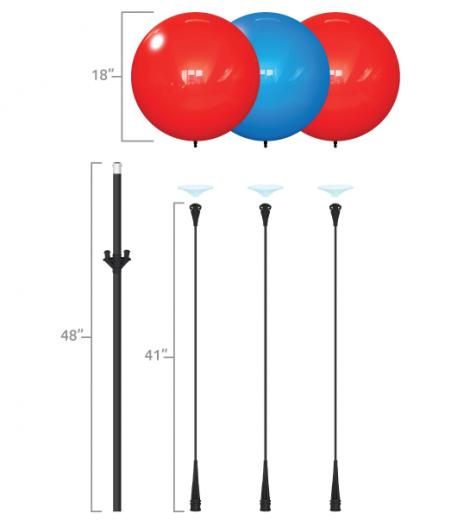 Triple Cluster Balloon Pole Kit