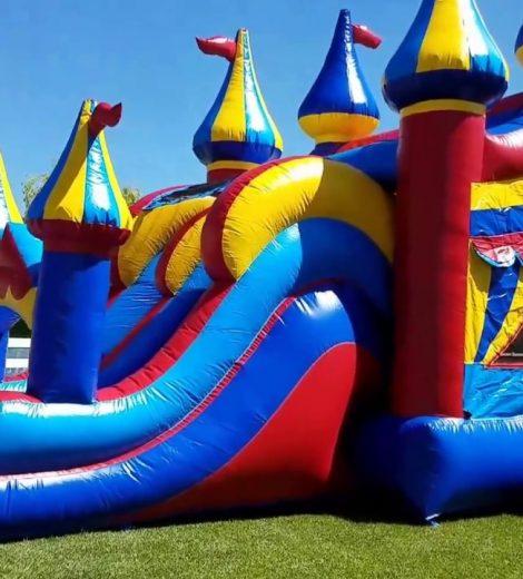 Big Top Circus theme 2 lane water slide combo